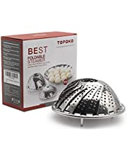 TOPOKO Vegetable Steamer Basket, Fits Instant Pot Pressure Cooker 5/6 QT and 8 QT, 18/8 Stainless Steel, Folding Steamer Insert For Veggie Fish Seafood Cooking, Expandable to Fit Various Size Pot