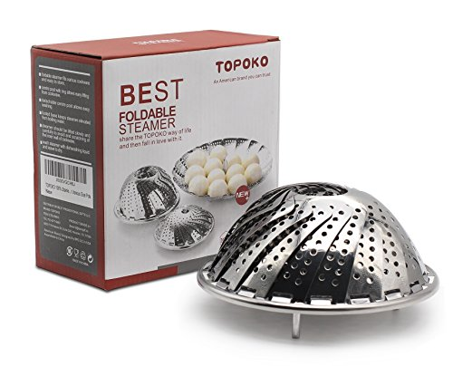 (Big Sale) Topoko 100% Stainless Steel Vegetable Steamer, Pasta Steamer, Folding Collapsible Basket for Various Size Pots