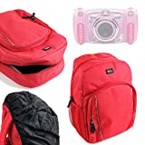 DURAGADGET Premium Quality Water-Resistant Red Backpack for NEW Vtech Kidizoom Duo Camera - With Black Rain Cover