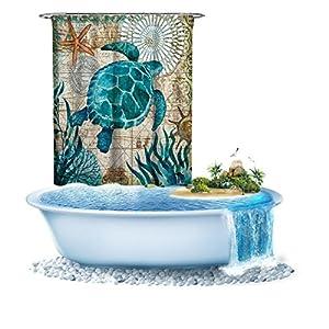51RCvdOkVIL._SS300_ 200+ Beach Shower Curtains and Nautical Shower Curtains
