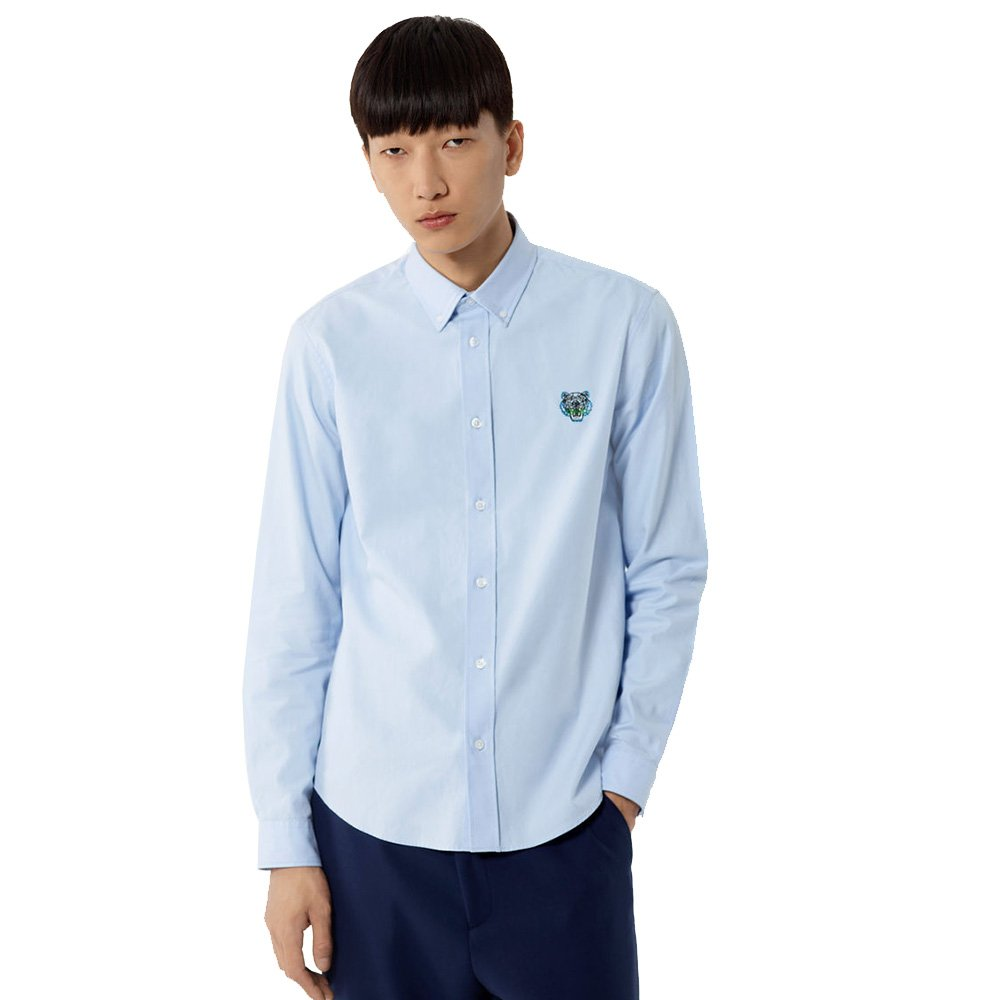 b9deea2fb Kenzo Authentic Men's Blue Mini Tiger Head Logo Cotton Casual Cut Shirt:  Amazon.co.uk: Clothing