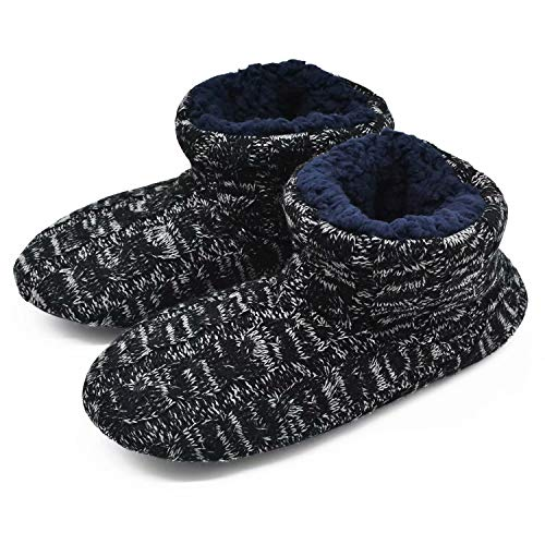 Woolen Knit Slipper Boots for Men Cozy Plush Furry Warm Pull on House Booties Shoes ()