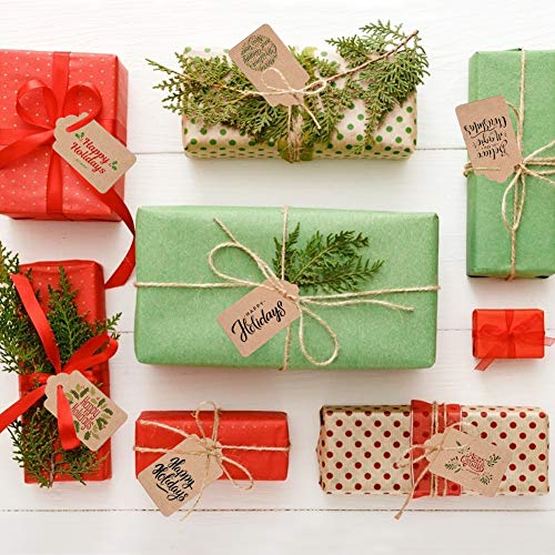 200pcs Kraft Paper Gift Tags with Free 200 Root Natural Jute Twine(Water Ripple)