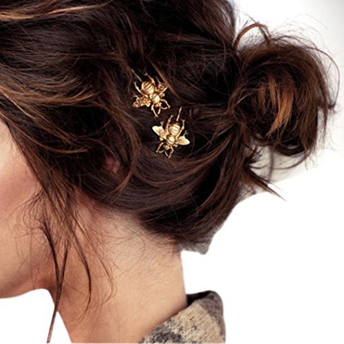 Tenworld Women Girl Gift 2PCS Girl Exquisite Gold Bee Hairpin Side Clip Hair Accessories