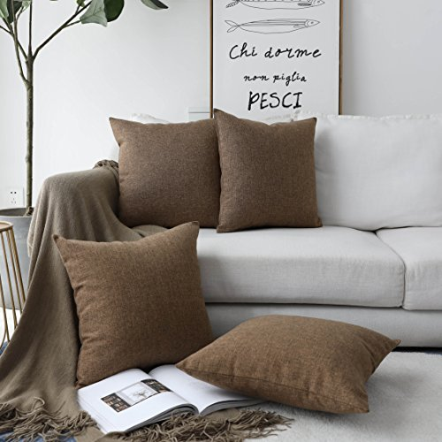 Throw Pillow Chocolate (HOME BRILLIANT Decor Burlap Lined Linen Square Throw Pillowcase Cushion Covers for Bench, 4 Pack, 18
