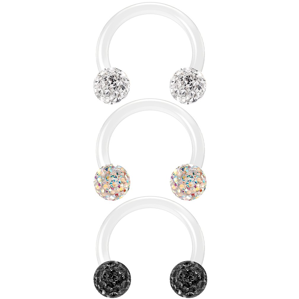 3pc 16g Circular Barbell Horseshoe Earrings Swarovski Crystals Tragus Cartilage Piercing Jewelry 8mm Bling Piercing BQCBHSFDO3SET1
