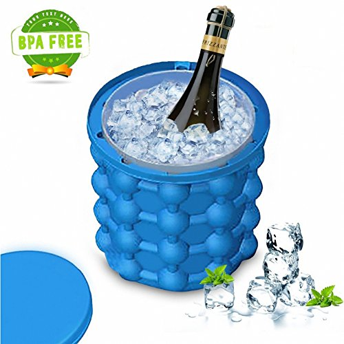 New Ice Cube Maker Genie silicone, BPA Free Ice bucket Space Saving Ice Cube Maker for Party Drink Picnic Camping Tub Silicone Freezer Kitchen Tools for Chill Bourbon, Whiskey, Cocktail, (New Cube)
