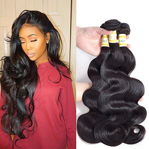 (Jiaoli Brazilian Human Hair Body Wave 3 bundles 100 Real Virgin Hair Bundles Natural Wavy Weave Human Hair Extension Tangle Free Natural Color (14 16 18))