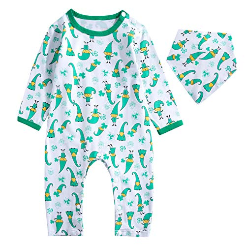 Baby Boys Girls Outfit Set St Patrick's Day Long Sleeve Irish Cartoon Print Romper with Bib (0-3 Months) White