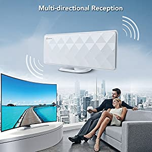 Indoor Antenna-ANTOP Indoor Flat 50 Miles Antenna with Exclusive Amplifier Booster, 4G Filter for Noise-Free, Multi-Directional Reception, 10 ft Coaxial Cable, Diamond-Cut Surface, White(AT-201B)