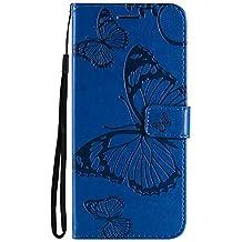 Lomogo Funda [Huawei Mate 20 Pro], Funda de Cuero con Cartera para Tarjetas y Cierre Magnetico Soporte Plegable Carcasa Libro Antigolpes para Huawei Mate 20Pro - LOKTU24373 Azul