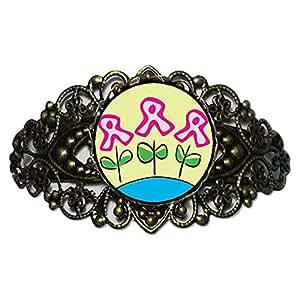 Chicforest Bronze Retro Style Pink Ribbon Flowers Flower Cuff Bracelet