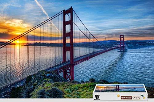 PigBangbang,34.4 X 22.6 Inch,Basswood -Bridge Golden Gate - 1500 Piece Jigsaw Puzzle (5 Facts About The Golden Gate Bridge)
