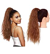 SARLA Wrap Around Clip in Ponytail Hair Extension Fluffy 22 Inch Long Synthetic Curly Wavy Hairpi...