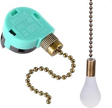 Interruptor de ventilador de techo ZE-268S6, 3 velocidades, 4 cables, control de cadena de tracción, control de interruptor de cadena para ventiladores de techo: Amazon.es: Bricolaje y herramientas