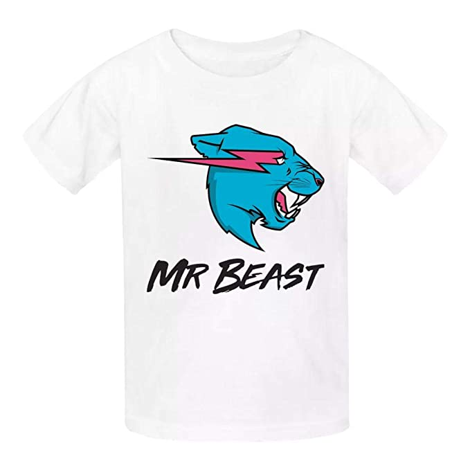 KAWDIS Mr Beast Basic Daily Wear Cotton Graphic T Shirts for Girls and Boys