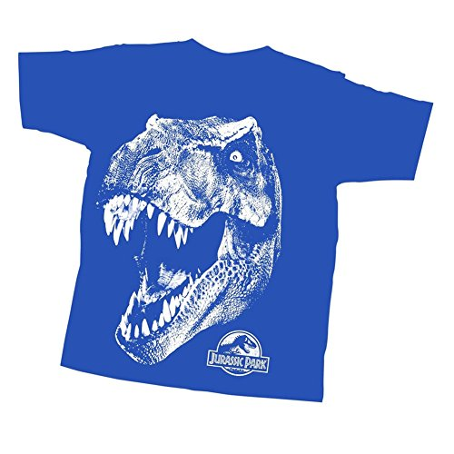 Jurassic Park Big Boys' T-Rex Head, Royal Blue, Youth Small by Jurassic Park