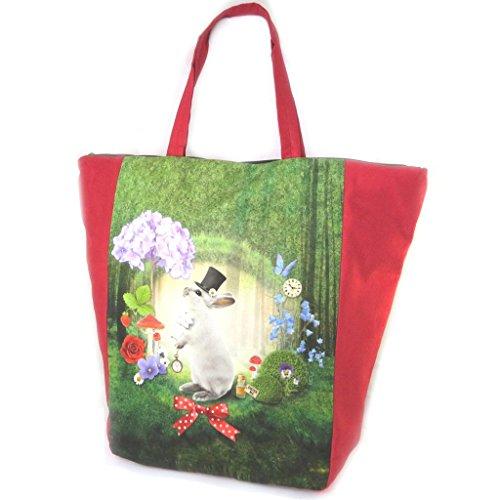 """Les Trésors De Lily [N8582] - Grand cabas """"Lapin Wonderland"""" vert rouge - 47x40x8. 5 cm"""