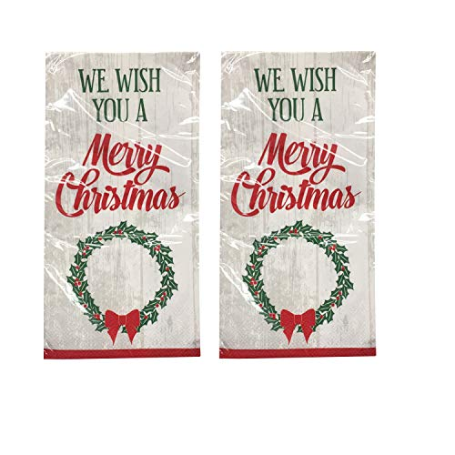 Christmas Holiday Printed Disposable Paper Guest Hand Towels,Buffet Napkins Pack of 2 (20 ct Each) (Merry Wreath)