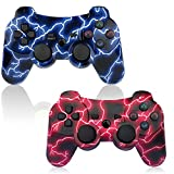 PS3 Controller 2 Pack Wireless 6-axis Double Shock Gaming Controller for Sony Playstation 3 w/Charging Cord (Blue + Red 2 pack)