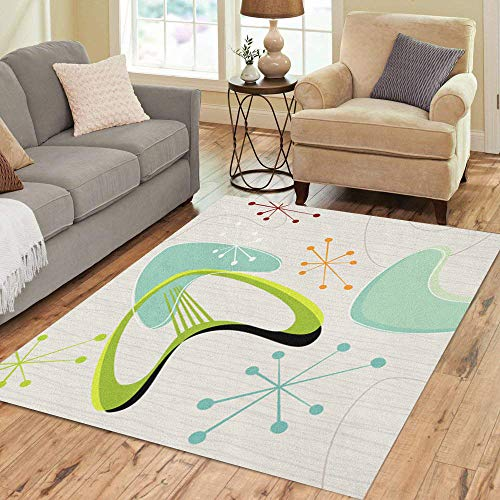 Pinbeam Area Rug Blue 50S Retro Inspired 1950S Lounge Boomerang 1960S Home Decor Floor Rug 3' x 5' Carpet]()