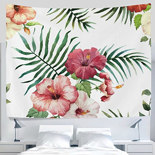 ALAZA Tropical Green Palm Leaves Floral Painting Tapestry