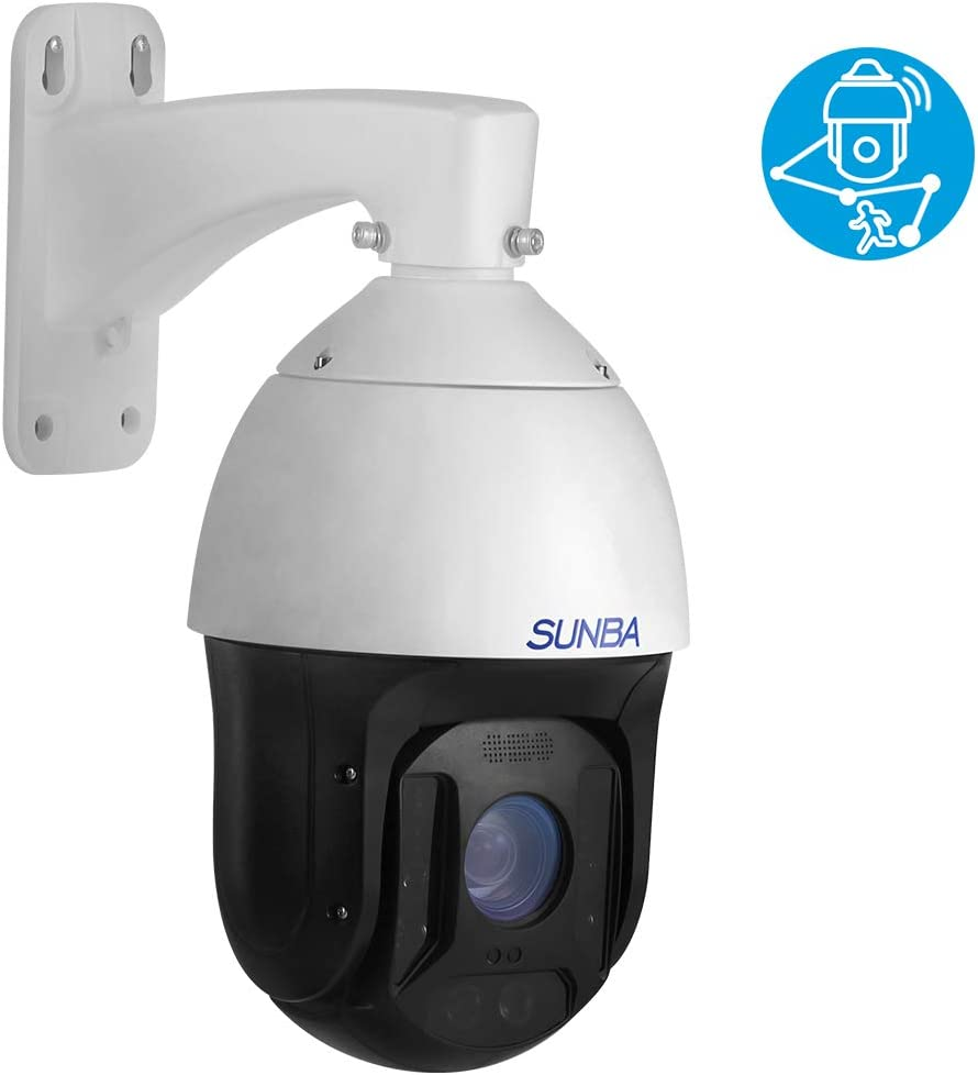 SUNBA 1080p Auto Tracking 25x Optical Zoom IP PoE PTZ Camera, RTMP for Broadcasting and Outdoor with Built-in Mic Long Range Infrared Night Vision Illuminati