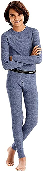 Hanes Heathered Blue 41070-Small Boys X-Temp Ultimate Thermal Underwear Set