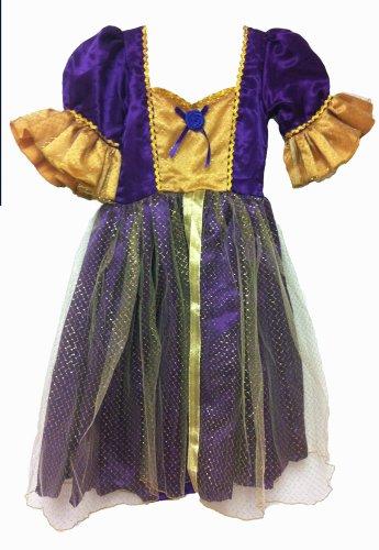 White Swan Ballerina Costume (Princess Rose Party Dress, Short Ruffle Sleeves (small, purple/gold))