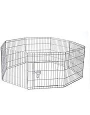"36"" 91 x 61 cm 8 Panel Pet Playpen Portable Exercise Metal Cage Fence Dog Play Pen Rabbit"