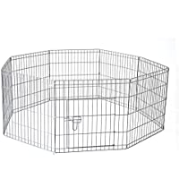 "36"" 91 x 61 cm 8 Panel Pet Playpen Portable Exercise Metal Cage Fence Dog Play Pen Rabbit"