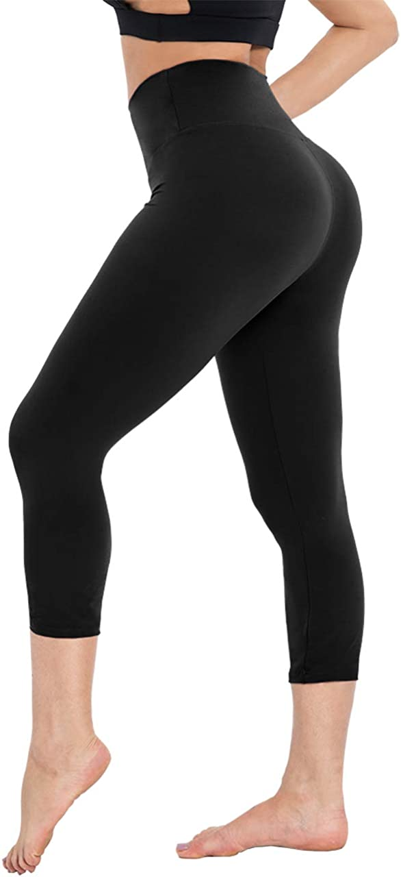 CAMPSNAIL High Waisted Capri Leggings for Women - Tummy Control Soft Slimming Yoga Pants for Running Workout Reg & Plus Size