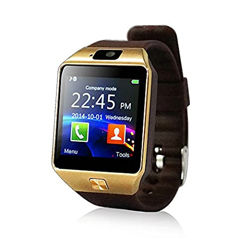 Yuntab SW01 Watch Bluetooth Smart Watch Fitness Wrist Wrap Watch Phone with Camera Touch Screen for Samsung HTC LG Android Phone Smartphone, support SIM card (SW01-Golden)