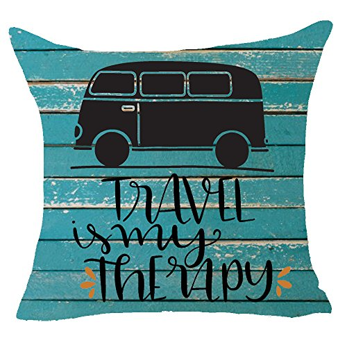 FELENIW Happy holiday drive a car have a rip enjoy be happy Throw Pillow Cover Cushion Case Cotton Linen Material Decorative 18
