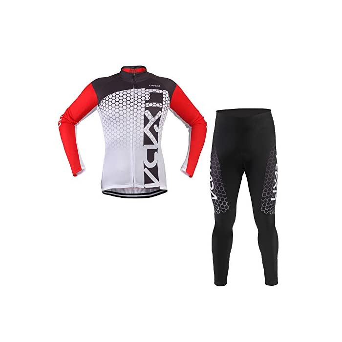 Lixada Conjunto de Ropa Bicicleta, Maillots Jersey Manga Larga & Pantalones Acolchados Unisexo Respirable Cómodo