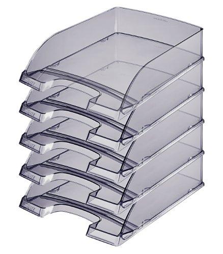 Leitz 52260092 Briefkorb Transparent Plus Briefkorb Transparent Plus, A4, Polystyrol, grau, 5er Packung