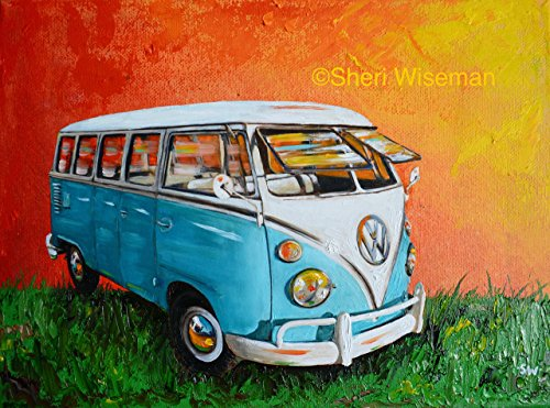 1960's Light Blue Volkswagen Bus, artist signed PHOTO PRINT, VW Bus, Camper Bus, fathers day, gift, christmas, present, men, man, a print of my original painting - Light Signed