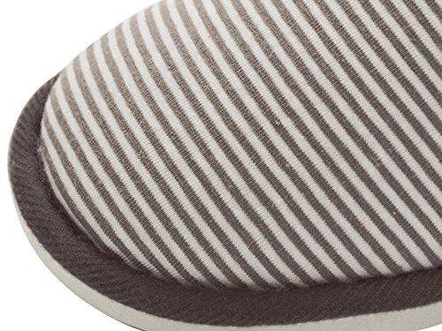 House Coffee Fleece Dark Print Cute Shoes Slipper stripe Lining Men's Memory Foam MOCOTONO 8S16q