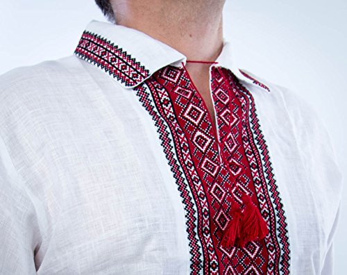 (Vyshyvanka Mens Ukrainian Embroidered Shirt Hand whire Red Polo Collar Linen Short Sleeve 2XL)