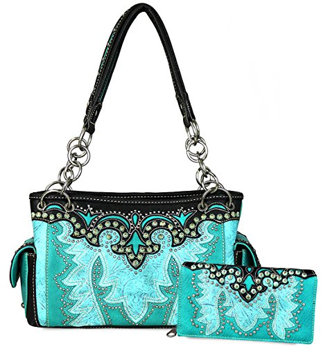 Montana West Concealed Carry Angel Wings Tote w/Side Pockets + Wallet (Turquoise) by Montana West