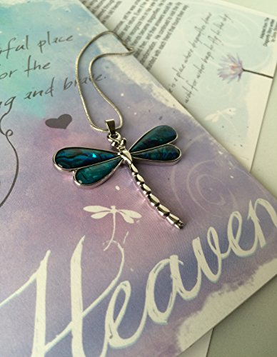 Blue Earth Dragon - Smiling Wisdom - Heaven Dragonfly Story Greeting Card Gift Set - Abalone Dragonfly Necklace - Loss, Bereavement or Simple Explanation of Heaven and Earth for Adult or Explain to Child