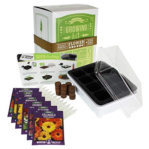 Annual Flower Garden Seed Starter Kit | Basic | 6 Varieties of Flower Seeds for Planting: Calendula, Alyssum, Nasturtium, Zinnia & Cosmos
