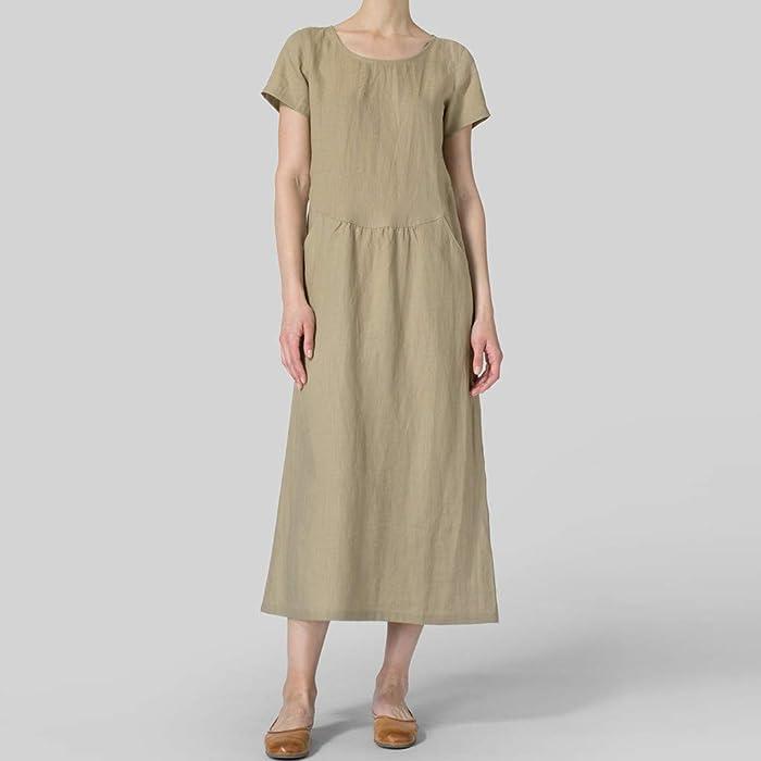 3509c6116329a Women's Cotton Linen Maxi Dress Plus Size Summer Long Gown Kaftans Short  Sleeve Vintage Loose Casual Plain O-Neck A-Line Dresses Vestidos with  Pockets
