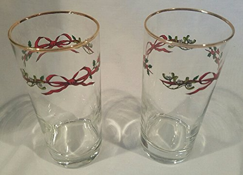 Set of 2 Christmas Glasses with Holly Tree Leaves & Berries Gold Trim (Berry Trim)