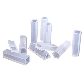 Juego de 10 moldes de silicona transparentes, diseño cilíndrico, para manualidades y creación de abalorios para joyería con resina multifuncional.