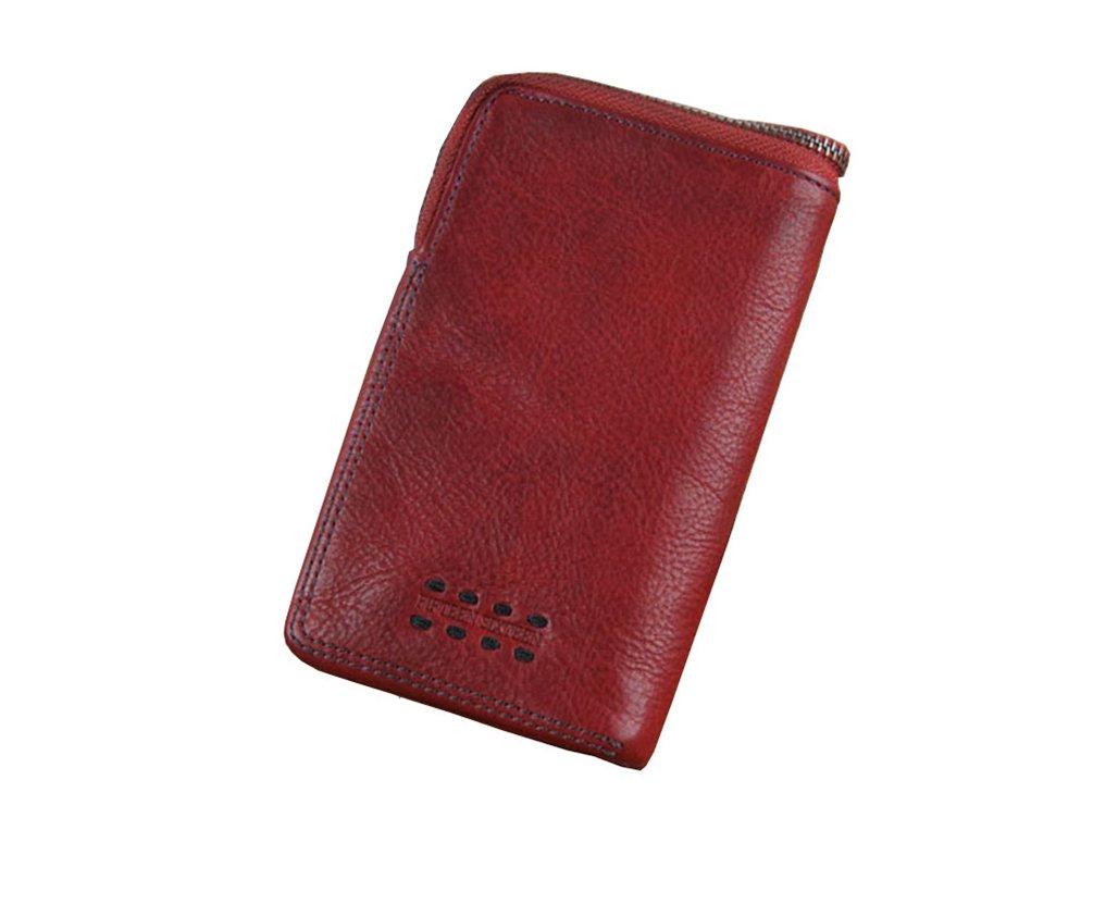 Menschwear Mens Genuine Leather Designer Wallet Credit Card Holder Purse Red