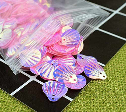 (HATCHMATIC 40 Colorful Shell Sequins for UV Epoxy Filler Resin Pendant Necklace Jewelry Making Craft DIY Accessories: Pink)