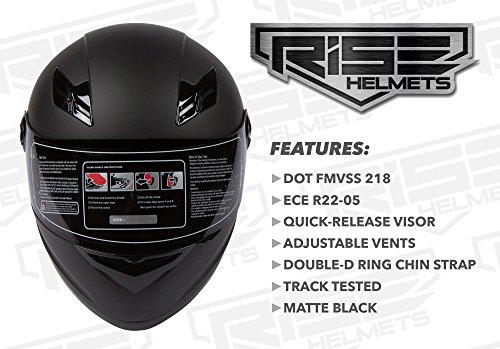 RISE Matte Black Motorcycle Helmet w/ 2 Visors (Clear & Smoke) - Lightweight Full Face DOT (Large)