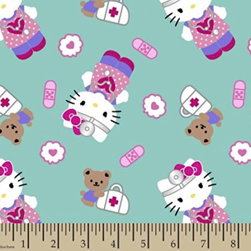 Hello Kitty First-aid Print Turquoise Fabric by The Yard