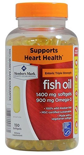 Member's Mark - Omega 3, Fish Oil 1400 mg (900 mg EPA/DHA), Enteric Coated, 4Pack (150 Count Each) Ckw@lhF by Members Mark